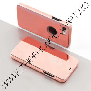 Husa flip tip carte 360 grade iPhone 7 / 8 oglinda Rose
