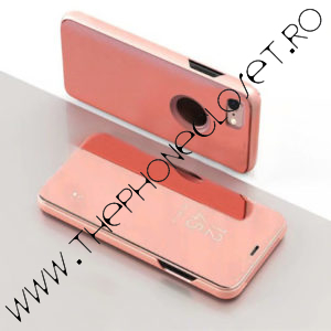 Husa flip carte 360 iPhone 6 / 6S oglinda Rose
