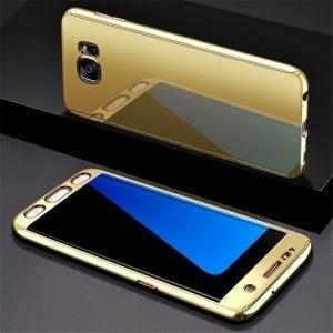 Husa 360 Samsung Galaxy S7 Edge, oglinda, Folie Ecran, Gold