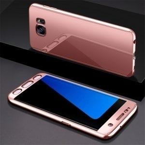 Husa 360 Samsung Galaxy S7 Edge, oglinda, Folie Ecran, Rose