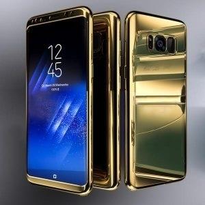Husa 360 Samsung Galaxy S8 Plus oglinda cu Folie Ecran, Gold