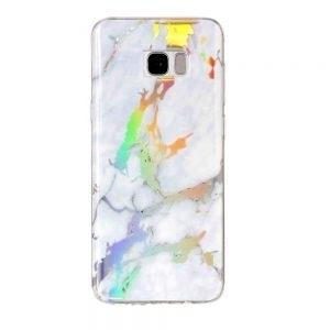 Husa marble marmura Samsung Galaxy S7 EDGE silicon White Holographic