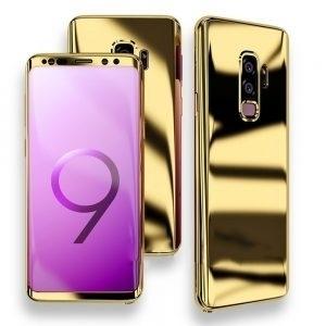 Husa 360 Samsung Galaxy S9 oglinda cu Folie Ecran, Gold