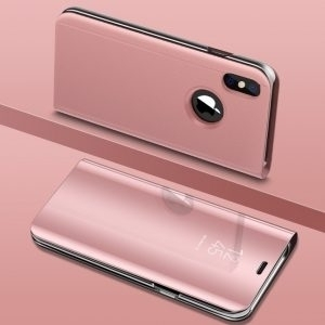 Husa flip carte 360 grade iPhone X oglinda Rose