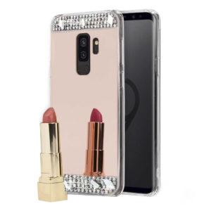 Husa Oglinda cu Strasuri si Cristale Samsung S9 Rose
