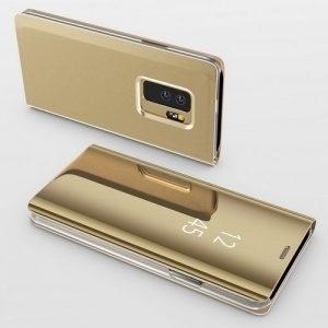Husa flip carte 360 Samsung Galaxy S9 oglinda Gold