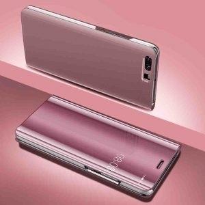 Husa flip carte 360 grade Huawei P10 oglinda Rose