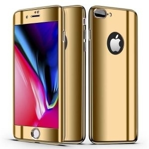 Husa 360 iPhone 7 / 8 Plus oglinda, Folie Ecran, Gold