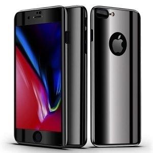 Husa 360 iPhone 7 / 8 oglinda cu Folie Ecran, Black