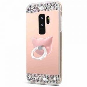 Husa cu inel oglinda cristale Samsung Galaxy S9 Rose