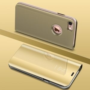 Husa flip carte 360 iPhone 7 / 8 Plus oglinda Gold