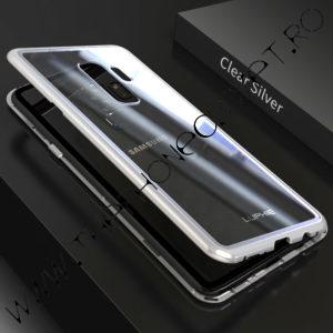 Husa Bumper Magnetic, Spate Sticla Samsung Galaxy S9 Silver