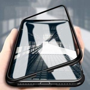 Husa Bumper Magnetic si Spate Sticla iPhone 7 / 8 Plus Black