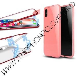 Carcasa Magnetica 360 cu Folie Ecran iPhone X Pink