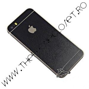 Folie autocolanta iPhone 5 5s SE piele leather Black 1