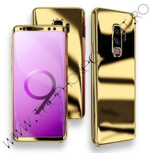 Husa 360 Samsung Galaxy S9 Plus oglinda cu Folie Ecran, Gold