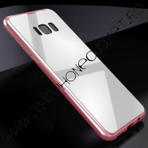 Husa Bumper Magnetic, Spate Sticla Samsung Galaxy S8 Plus Pink
