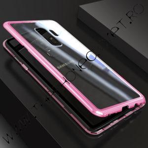 Husa Bumper Magnetic, Spate Sticla Samsung Galaxy S9 Plus Roz
