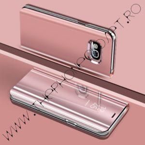 Husa flip tip carte 360 de grade Samsung Galaxy A5 2017, tip oglinda, Rose