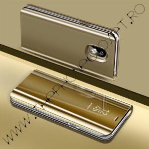 Husa flip tip carte 360 de grade Samsung Galaxy J5 2017, tip oglinda, Gold
