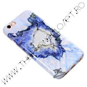 Set 360 husa spate si folie protectie ecran iPhone 6 / 6s marmura marble Albastru Intens