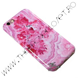 Set 360 husa spate si folie protectie ecran iPhone 6 / 6s marmura marble Roz Intens
