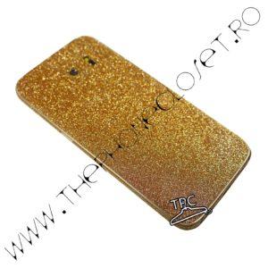 Folie autocolanta pentru fata, spate si laterale Samsung Galaxy S7 sclipici Gold
