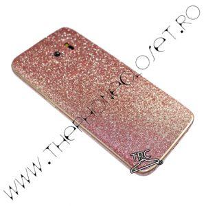 Folie autocolanta pentru fata, spate si laterale Samsung Galaxy S7 edge sclipici Pale Pink