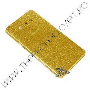 Folie autocolanta pentru fata, spate si laterale Samsung Galaxy J5 2015 sclipici Gold