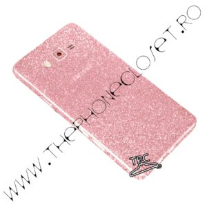 Folie autocolanta pentru fata, spate si laterale Samsung Galaxy J5 2015 sclipici Pale Pink