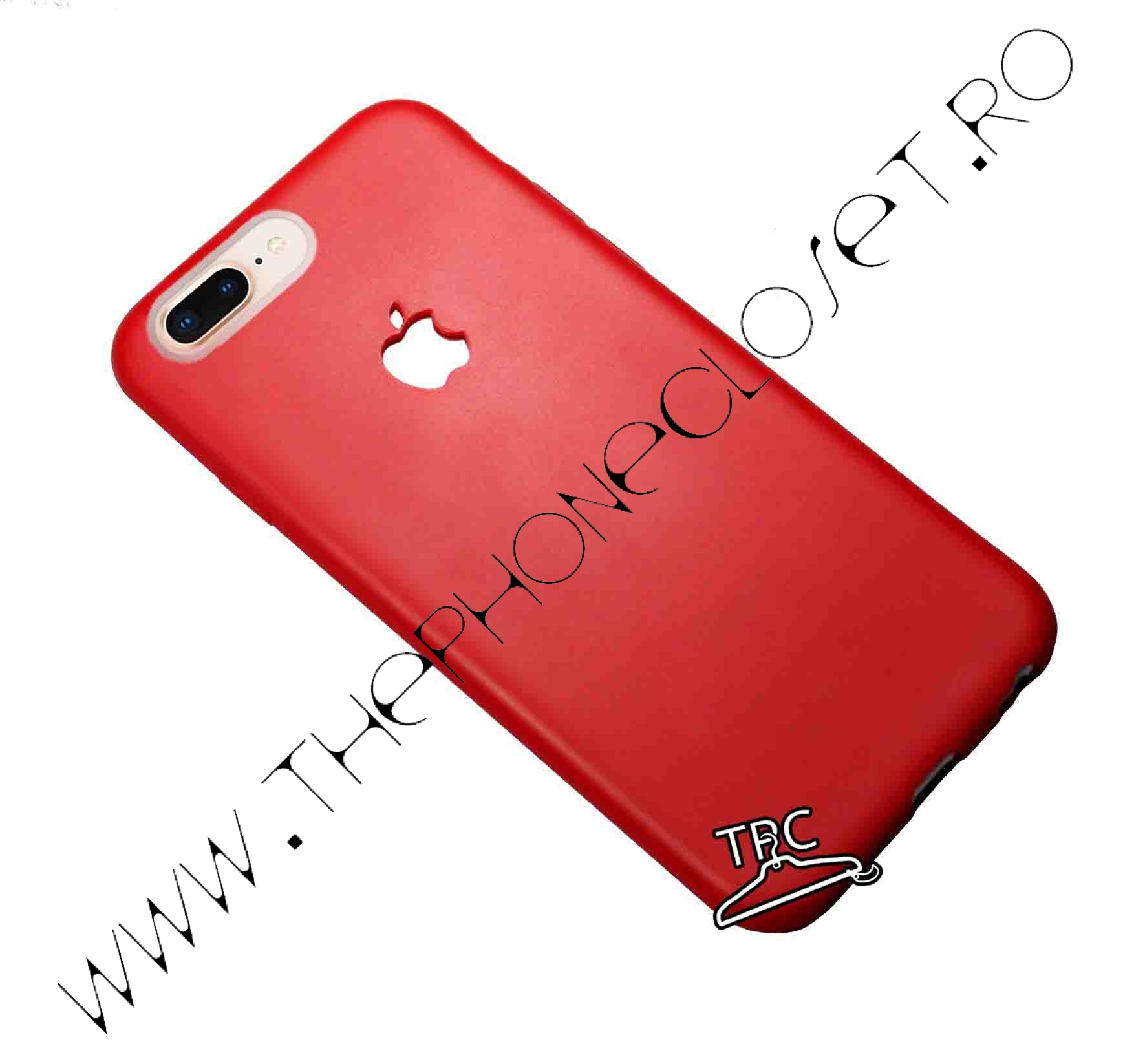 Husa din silicon dens iPhone 8 Plus logo decupat Red Mat