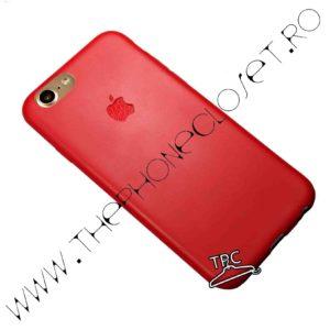 Husa din silicon dens iPhone 8 logo decupat Red Mat si sticker logo tip piele Red