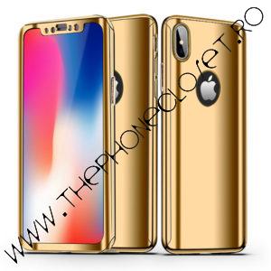 Husa 360 mirror cu Folie Ecran iPhone X XS Gold