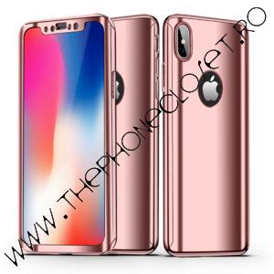 Husa 360 oglinda cu Folie Ecran iPhone X XS Rose