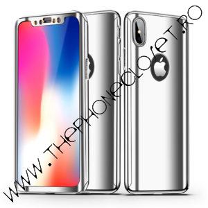 Husa 360 oglinda cu Folie Ecran iPhone X XS Silver