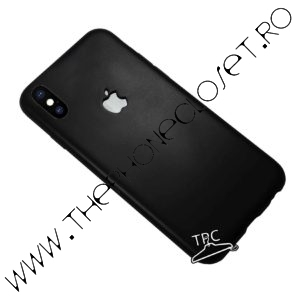 Husa din silicon logo decupat iPhone X XS Black Mat