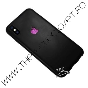 Husa logo decupat si sticker glitter iPhone X XS Black Mov