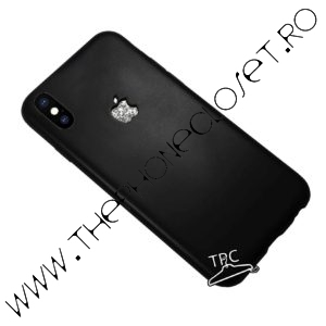 Husa logo decupat si sticker glitter iPhone X XS Black Silver