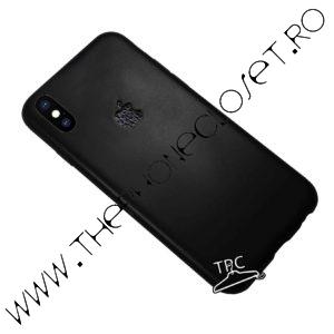 Husa logo decupat si sticker piele iPhone X XS Black