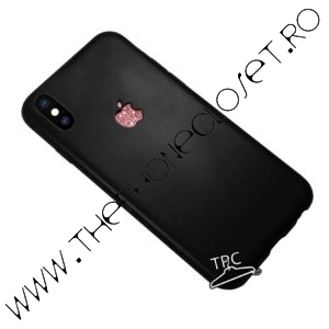 Husa logo decupat si sticker sclipici iPhone X XS Black Roz