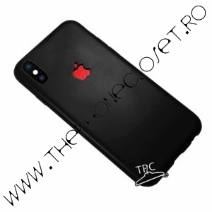 Husa logo decupat si sticker tip piele iPhone X XS Black Red