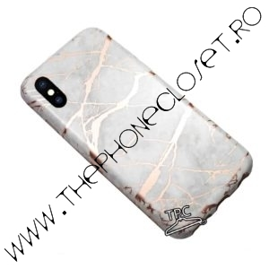 Husa silicon marble marmura iPhone X XS White Rose