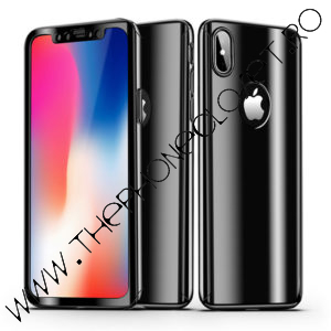 Husa 360 de grade mirror cu Folie iPhone X XS Black