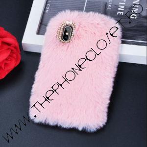 Husa Fluffy cu Blana iPhone X XS Roz