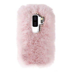 Husa Fluffy cu Blana si Puf Samsung S9 Roz