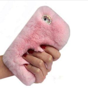 Husa Fluffy cu Blana si Puf iPhone 7 | 8 Plus Pink