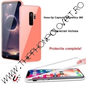 Husa Magnetica 360 Samsung Galaxy S9 cu Folie Ecran Roz