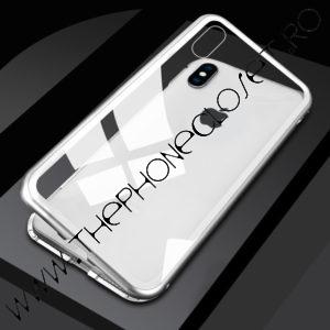 Husa Magnetica iPhone XS MAX Spate Sticla Silver