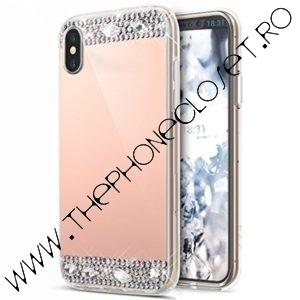 Husa cristale pietre Swarovski mirror iPhone X XS Roz