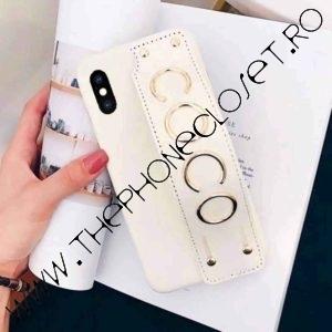 Husa din piele ecologica Coco cu grip iPhone X XS Alb
